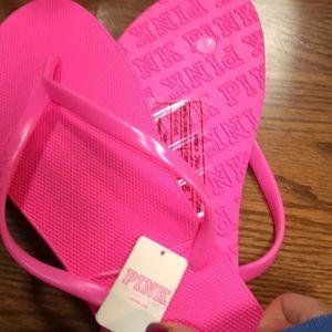 Pink Victoria's Secret Hot Pink  Flip Flops
